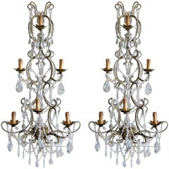 Pair of Monumental Italian Beaded Crystal Sconces in Antique Gold Frame