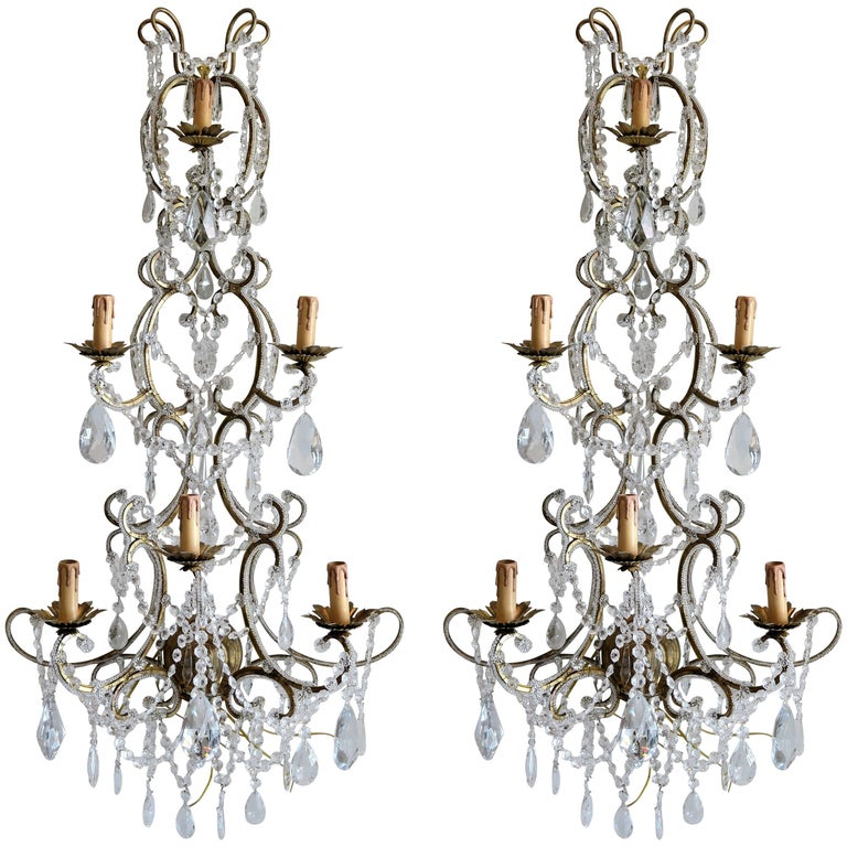 Pair of Monumental Italian Beaded Crystal Sconces in Antique Gold Frame For Sale