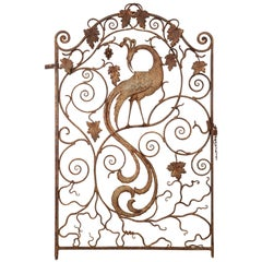 Fantastic 1920s Iron Gate with Peacock Motif