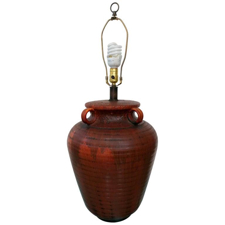 Nardini Studios Incised Drip Glazed Ovoid Jar Table Lamp, Offered by La Porte