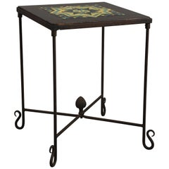 Tall Spanish Revival Iron Base Tile Table, circa 1920s