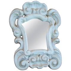 1950 French Work, Little Mirror in Enameled Plaster