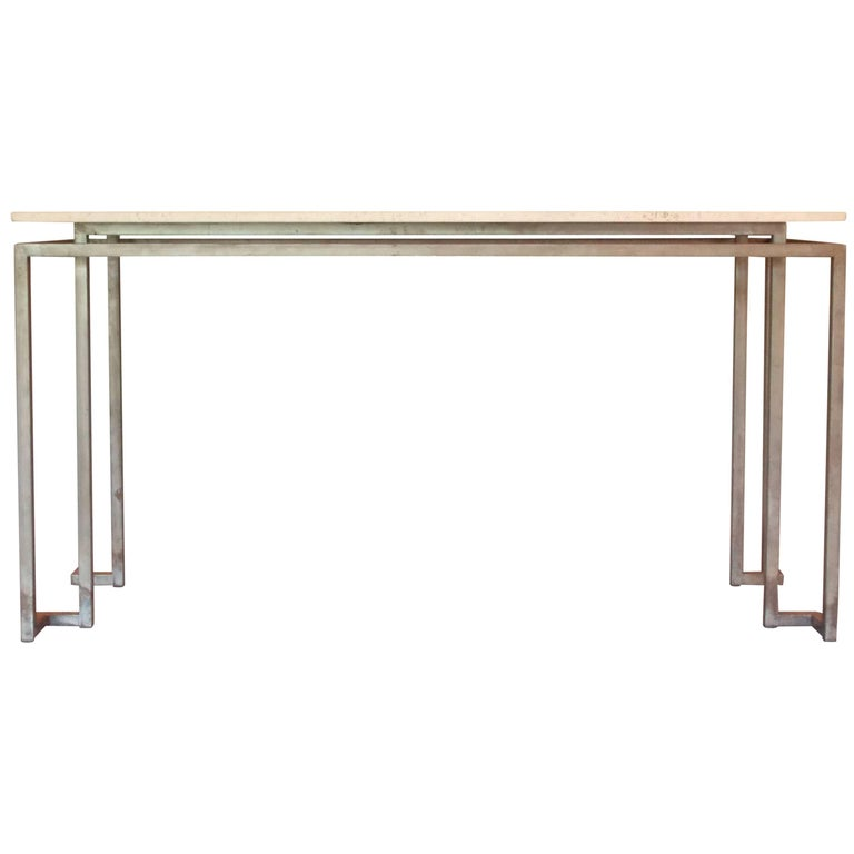 Architectural Console Table with Travertine Stone Top