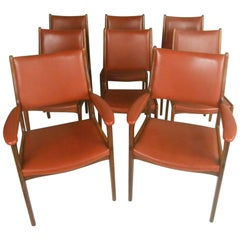 Set of Eight Scandinavian Modern Dining Chairs