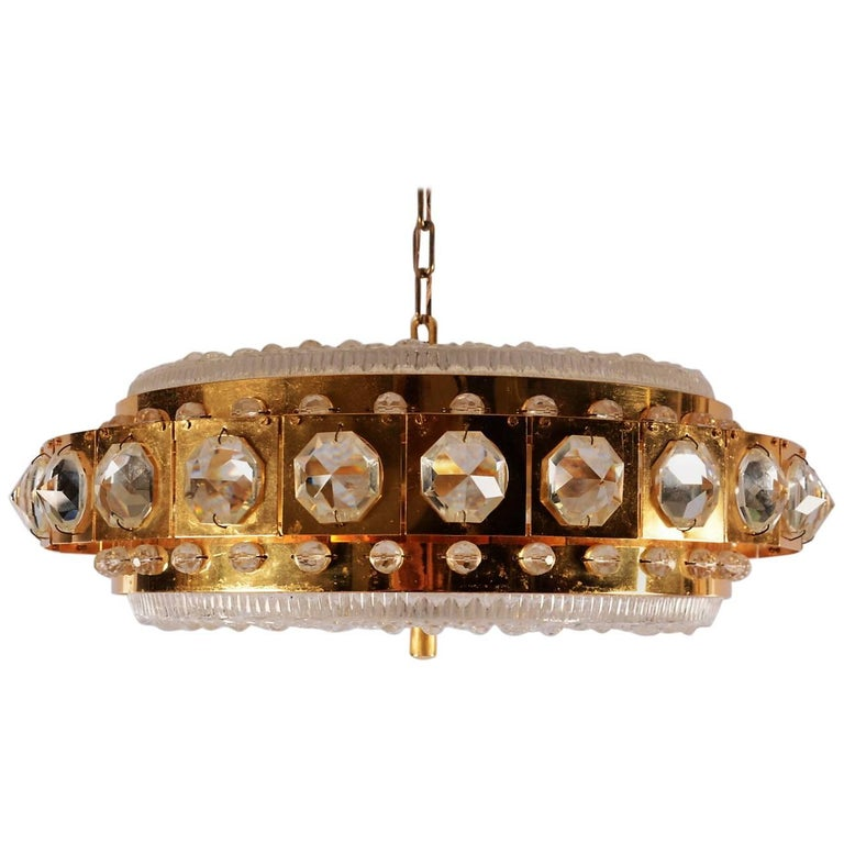 Carl Fagerlund for Orrefors Chandelier For Sale