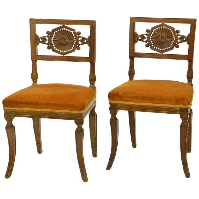 Pair of Rare Early 19th Century Italian Neoclassical Carved Walnut Side Chairs For Sale