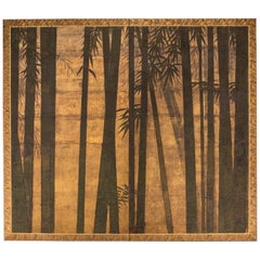 """Japanese Two-Panel Screen """"Bamboo Forest on Gold"""""""