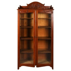 Antique Carved Oak Two-Door Bookcase with Acanthus and Scroll Decoration
