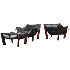 Pair of Jacaranda and Leather Lounge Chairs and Ottoman by Percival Lafer