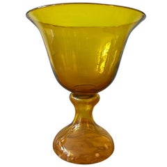 Large Blenko Glass Chalice Form Pedestal Vase