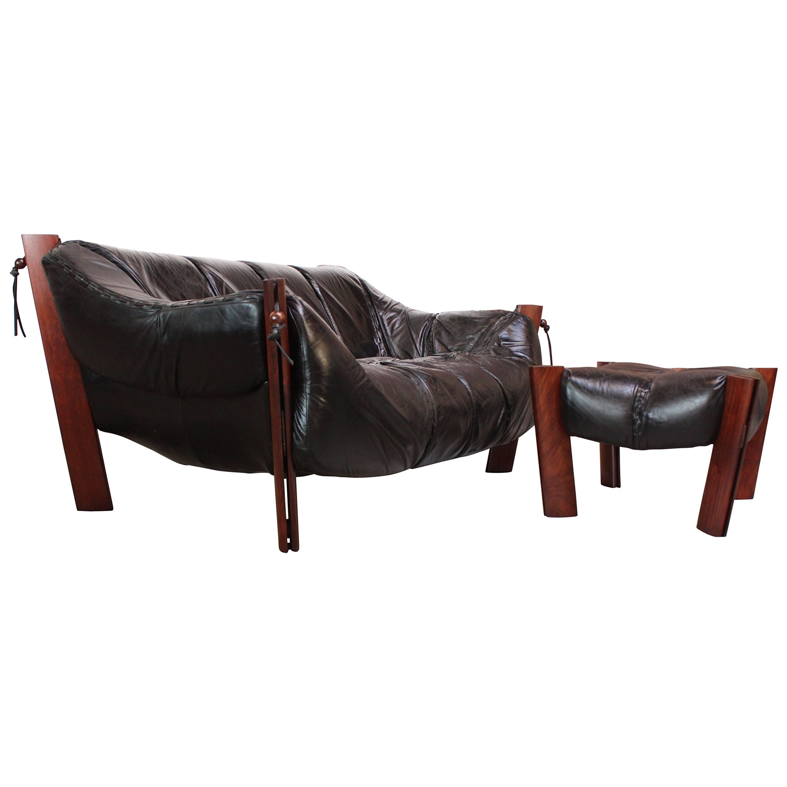 Percival Lafer MP 211 Jacaranda And Leather Two Seat Sofa With Ottoman