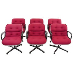 Set of Six Charles Pollock Office Executive Armchairs, Knoll International