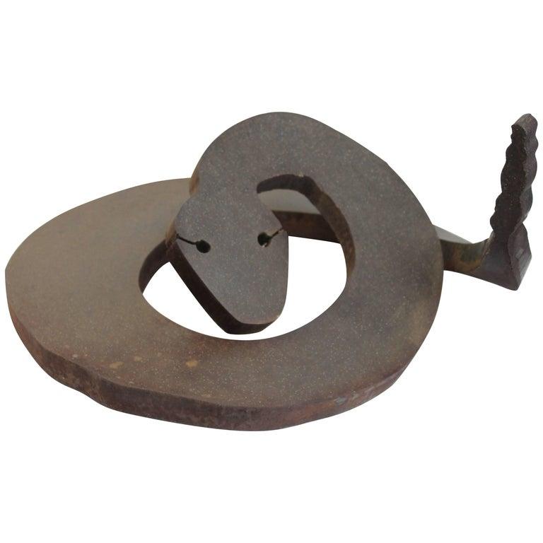 Brutalist Steel Rattlesnake Sculpture For Sale