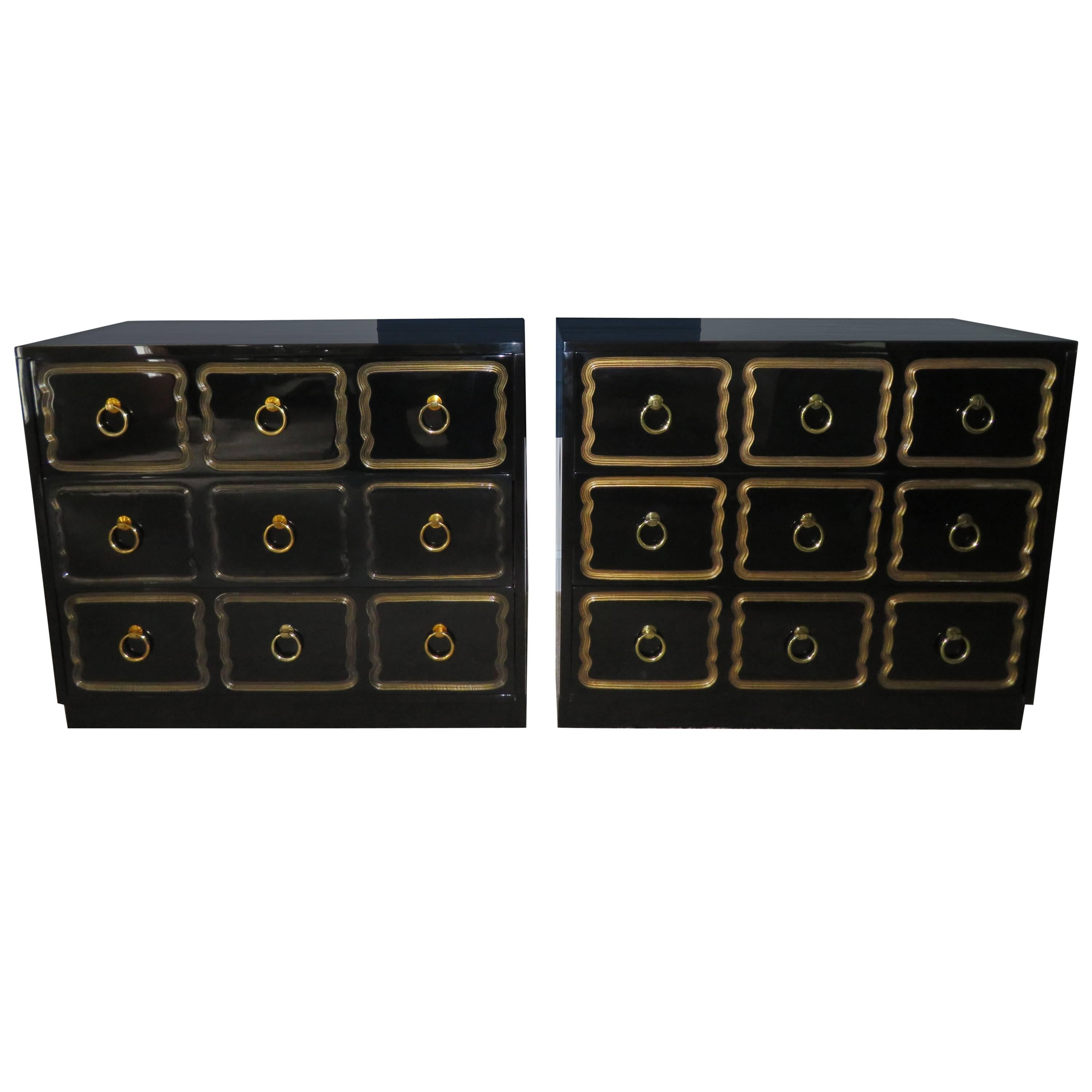 Pair of Hollywood Regency Black Lacquered Espana Dorothy Draper Designed Chests
