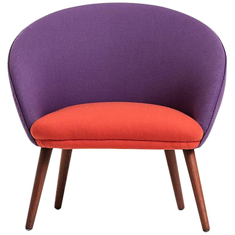 Danish Produced Cocktail Chair, 1950s, Orange and Purple Wool Upholstery