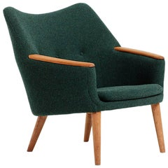 Pair of Lounge Chairs Designed by Kurt Østervig, 1958, Green Wool Upholstery