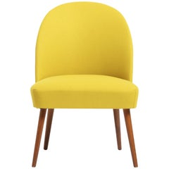 Cocktail Chair, 1960s Tipped Legs of Stained Oak, Yellow Wool Upholstery