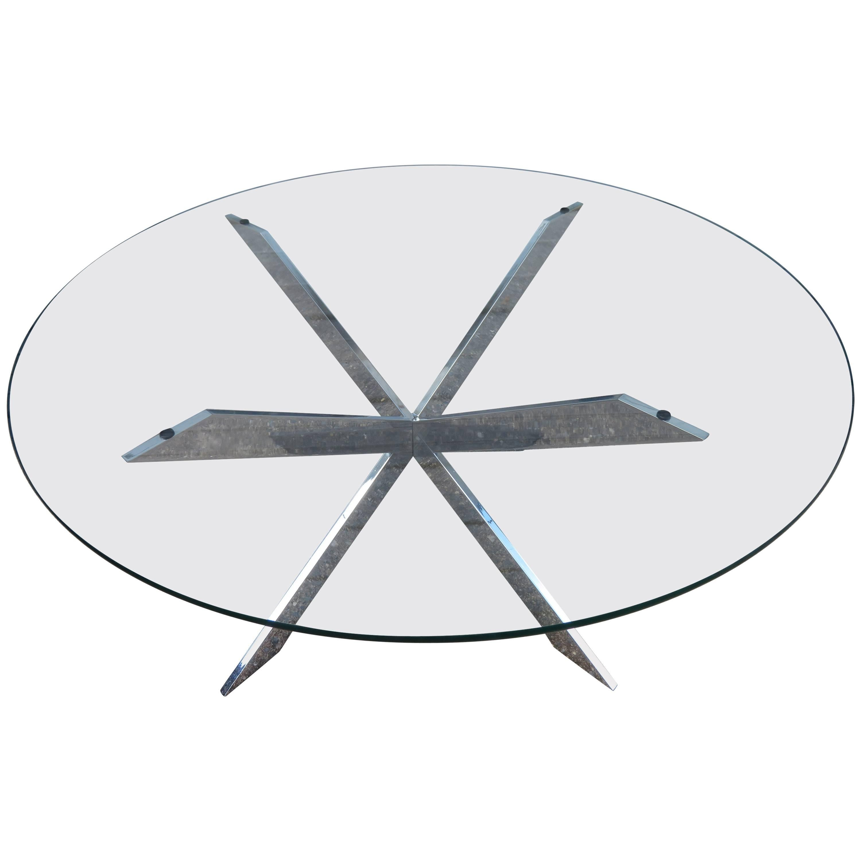 Gorgeous Leon Rosen for Pace Collection Double X-Base Chrome Coffee Table