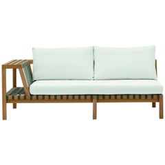 Roda  Outdoor Network Sofa Teak w/ Grey Belts & Tan Cushions in Stock & On Sale!