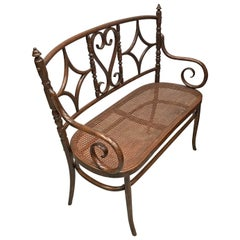 Viennese Sofa in Style Jacob & Josef Kohn, circa 1925, Caned Seat