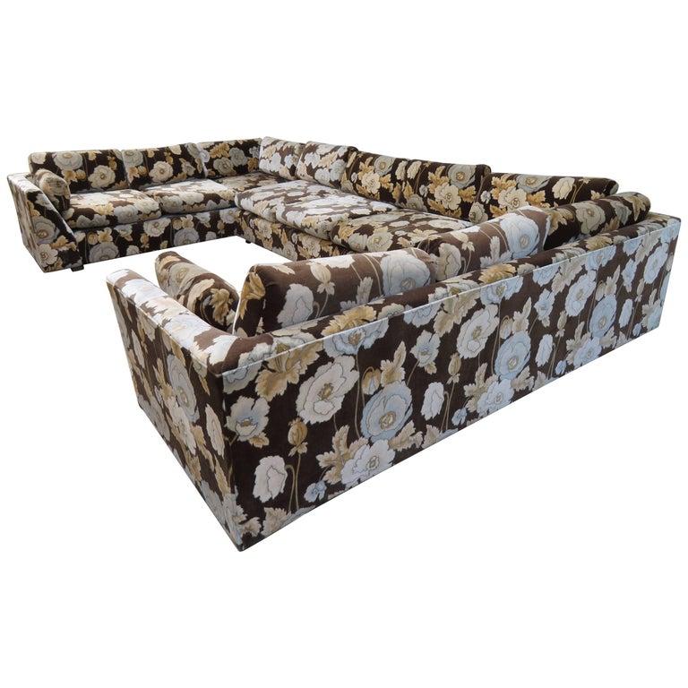 Gorgeous Milo Baughman Style Three-Piece Sectional Sofa Jack Lenor Larsen