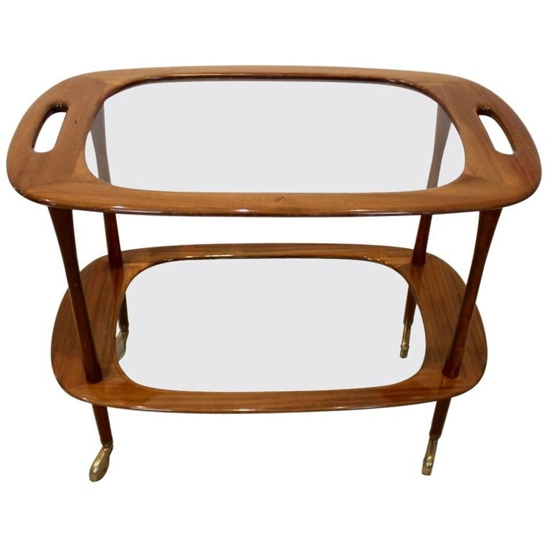 Magnificent Walnut Bar Cart by Cesare Lacca for Cassina, 1950s, Italy