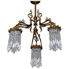 Art Nouveau Style Bronze Crystal Chandelier