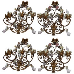 1900 Series of Four Wall Lamps Has Four Arms of Light N3 with Ceramic Flowers