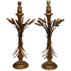 1950-1970 Pair of Golden Wood Lamps with Sheaf of Wheat