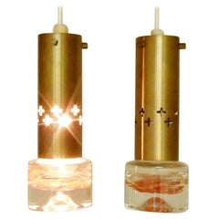 Set of Two Swedish Pendant Lights in Brass and Glass, Sweden, 1960s-1970s