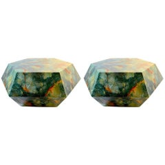 Pair of Faceted Geode Tables Attributed to Aldo Tura