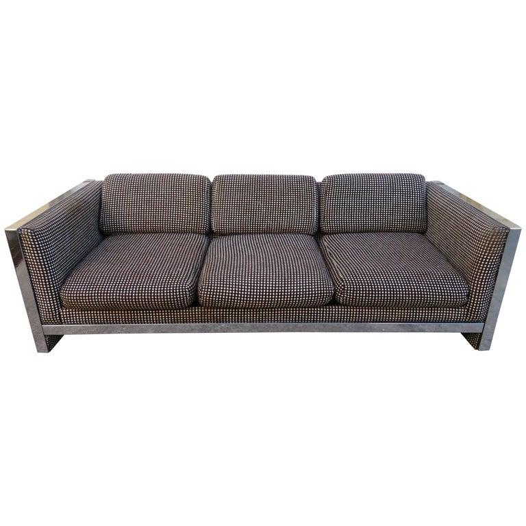 Lovely Chunky Chrome Milo Baughman Style Mid-Century Modern Sofa