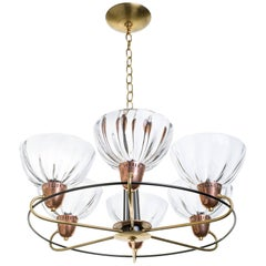 Italian Brass Copper Blown Glass Chandelier