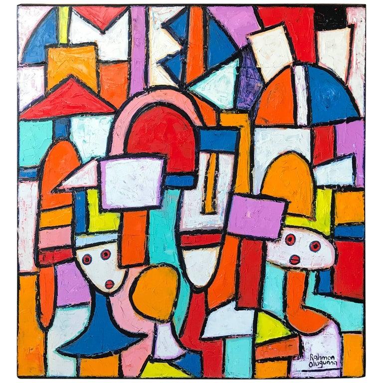 "Painting by Noted Nigerian Artist Rahmon Olugunna ""Village People"" 1"
