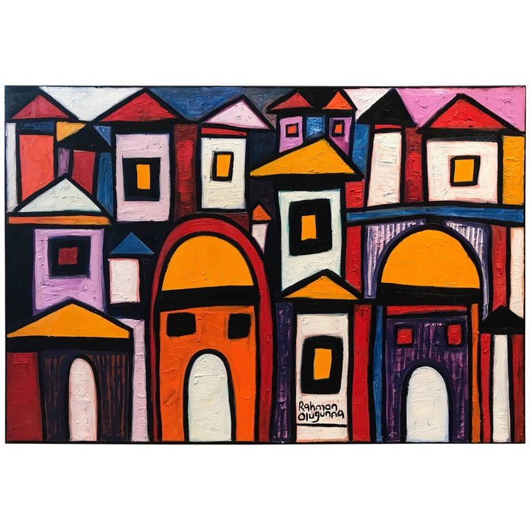 Vibrant Colorful Painting by Noted Nigerian Artist Rahmon Olugunna For Sale