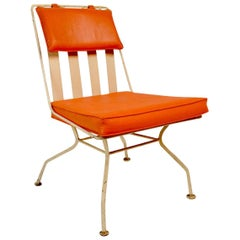 Woodard Chair with Orange Seat and Back Pad