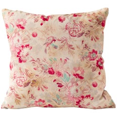 19th Century Block Print Cushions- Floral Red Turquoise Tan Pink, Large