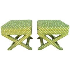 Lovely Pair of Midcentury X-Base Ottoman Stools by Billy Baldwin