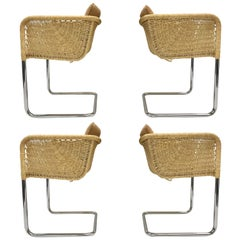 Set of Four Wicker and Chrome Cantilever Chairs by Harvey Probber