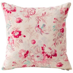 19th Century Block Print Cushions- Floral Red Turquoise Tan Pink, Small
