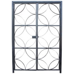 Large Midcentury Wrought Iron Architect Designed Garden Gate