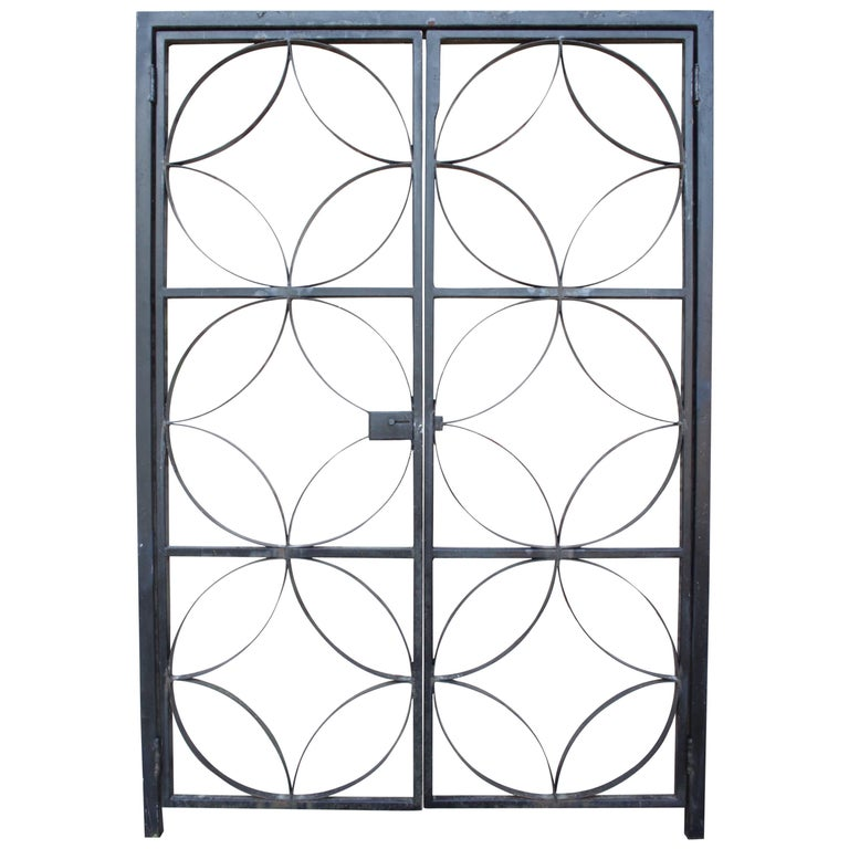 Large Midcentury Wrought Iron Architect Designed Garden Gate For Sale