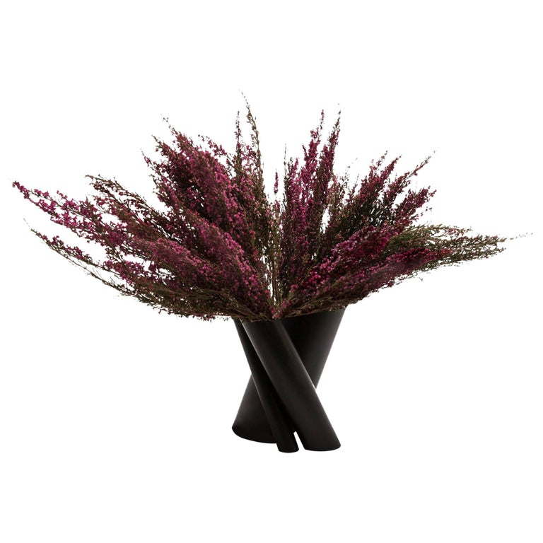 Contemporary Minimal Triple Black Steel Flower Sculptural Vase, In Stock USA