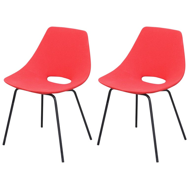 Pair of Tonneau Chairs by Pierre Guariche For Sale