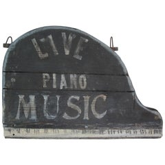 Piano Shaped Painted Wood Sign for a Supper Club