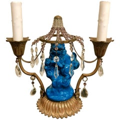 Chinese Export Turquoise Foo Dog Lamp, with French Bronze and Crystal Mounts