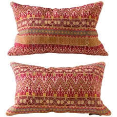 Contemporary Artisan Hand-Loomed Pillows, Red Maroon Yellow Green