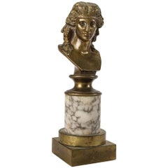 Antique Grand Tour Bronze Bust Sculpture of Classical Woman on Marble Base