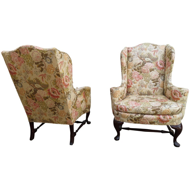 Handsome Pair of Georgian Style Wingback Chairs W & J Sloane, Midcentury