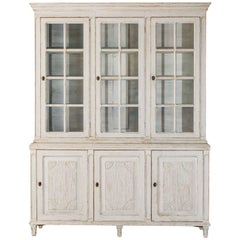 19th Century Swedish Gustavian Three-Door Glass Vitrine Bookcase Cabinet